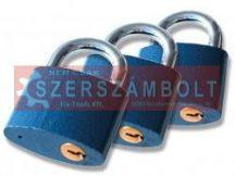 Biztonsági réz lakat klt., 38mm, 3 db lakat+6 db kulcs,
