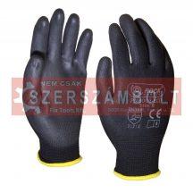 Fekete polyster kesztyû,fekete PU tenyerén mártott,méret:7
