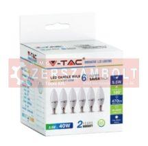 5,5W LED izzó E14 Gyertya 2700k 6db/csomag