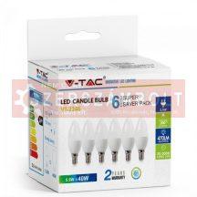 5,5W LED izzó E14 Gyertya 6400K 6db/csomag